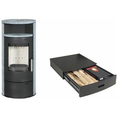 Poêle à bois ELSA 7KW avec option combustion continue - revêtement et chauffe plat Pierre Ollaire option Podium+ range granules, bûches et aspirateur
