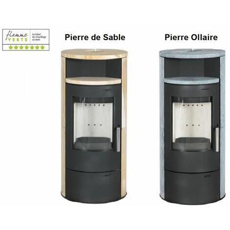 POELE A BOIS ELSA 7KW SANS option combustion continue - revêtement et chauffe plat PIERRE DE SABLE