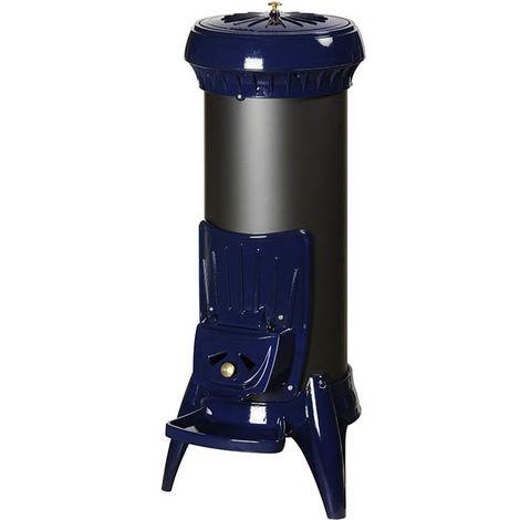 Poêle à bois en fonte Sorel émaillé bleu
