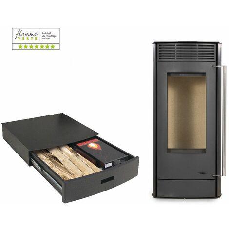 Poêle à bois EUROPA 6KW - Acier Noir option Podium+ range granules, bûches et aspirateur