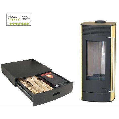 Poêle à bois EUROPA 6KW - Pierre de Sable option Podium+ range granules, bûches et aspirateur