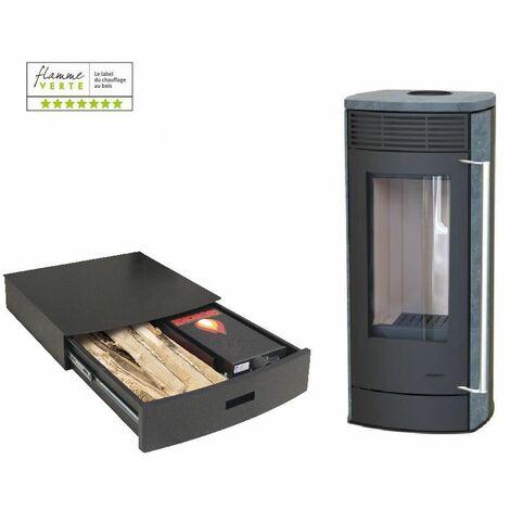 Poêle à bois EUROPA 6KW - Pierre Ollaire option Podium+ range granules, bûches et aspirateur