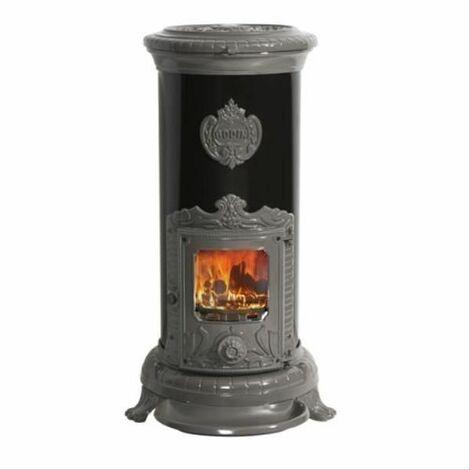Poêle à bois Petit Godin 7kW Emaillé noir brillant et décor fonte émail GODIN - 310105GRISMETAL