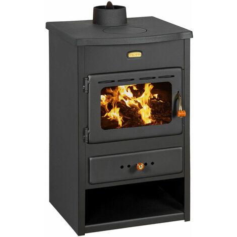 """Poêle à bois pour système de chauffage central. Poêle à combustible solide avec chaudière intégrée et couvercle supérieur en fonte. Puissance de chauffage 4 + 8 kw. Modèle """"Prity K1 CPW8"""""""
