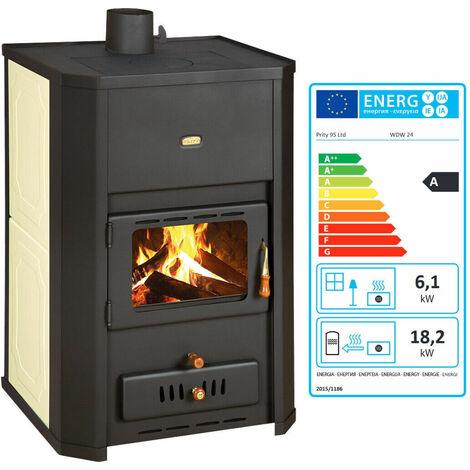 """Poêle à bois pour système de chauffage central. Poêle à combustible solide avec chaudière intégrée. Puissance de chauffage 6 + 23kw. Modèle """"Prity WD W24"""""""