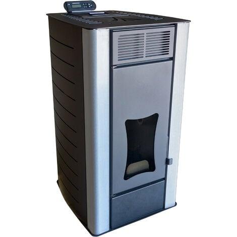 Poêle à granulés à eau Nemaxx PW18-BK Poêle à pellets de bois en acier noir, puissance 18 kW, rendement 90,8%, 300m³ capacité de chauffage, avec télécommande