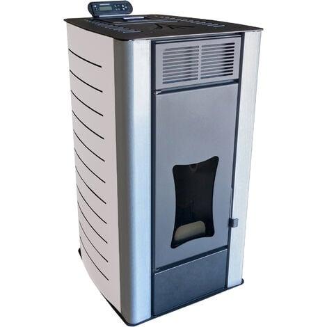 Poêle à granulés à eau Nemaxx PW18-WT Poêle à pellets de bois en acier blanc, puissance 18 kW, rendement 90,8%, 300m³ capacité de chauffage, avec télécommande