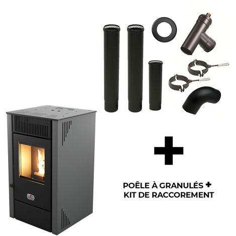 Poêle à granulés air Anita 9 kW Sannover Gris + Kit Raccordement Fumisterie