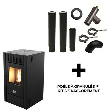 Poêle à granulés air Anita 9 kW Sannover Noir + Kit Raccordement Fumisterie