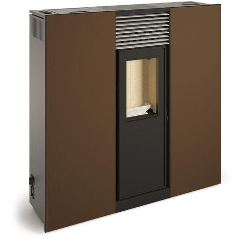 Poêle à granulés canalisable compact de couloir PHOENIX 10kW Marron Vintage