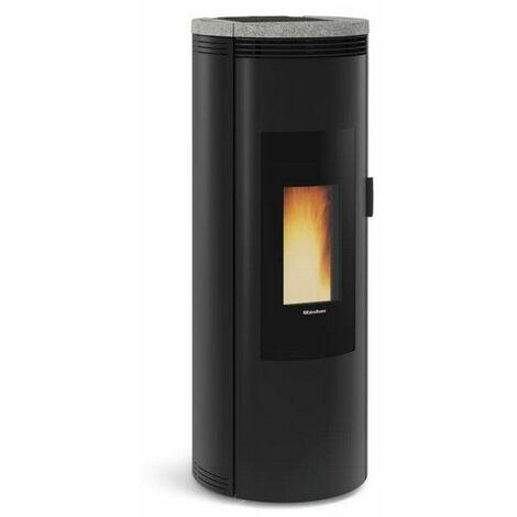 poêle à granulés de bois 8kw noir/pierre - amikapierre - nordica extraflame