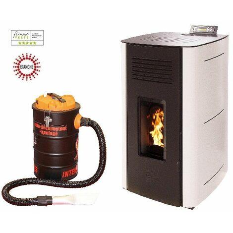 Poêle à granules HYDRO ELIO 13 KW Etanche - Blanc option aspirateur 20 litres 1000W