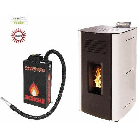 Poêle à granules HYDRO ELIO 13 KW Etanche - Blanc option aspirateur à cendres ASPI SLIM 2CLICK 18 litres 1000W