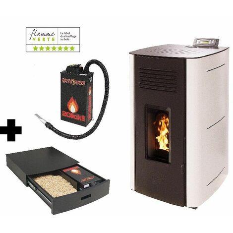 Poêle à granules HYDRO ELIO 13 KW Etanche - Blanc option Podium+ range granules, bûches et aspirateur et Aspirateur à cendres ASPI SLIM 2CLICK 18 litres 1000W