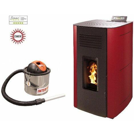 Poêle à granules HYDRO ELIO 13 KW Etanche - Bordeaux option aspirateur 18 litres 1200W