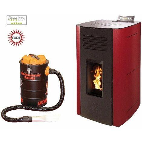 Poêle à granules HYDRO ELIO 13 KW Etanche - Bordeaux option aspirateur 20 litres 1000W