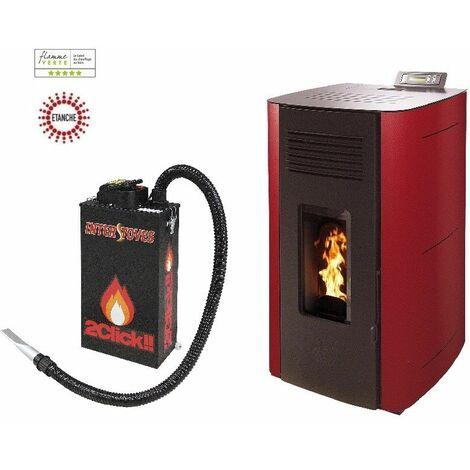 Poêle à granules HYDRO ELIO 13 KW Etanche - Bordeaux option aspirateur à cendres ASPI SLIM 2CLICK 18 litres 1000W