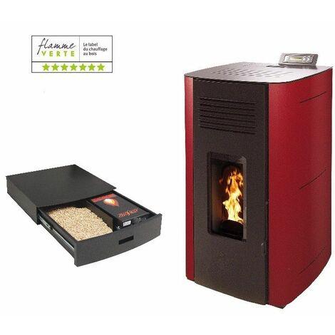 Poêle à granules HYDRO ELIO 13 KW Etanche - Bordeaux option Podium+ range granules, bûches et aspirateur
