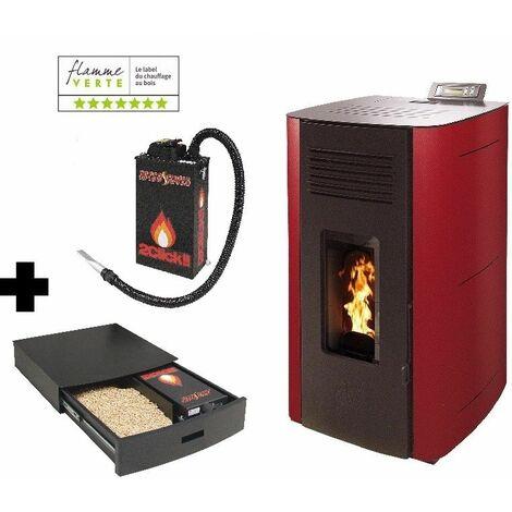 Poêle à granules HYDRO ELIO 13 KW Etanche - Bordeaux option Podium+ range granules, bûches et aspirateur et Aspirateur à cendres ASPI SLIM 2CLICK 18 litres 1000W