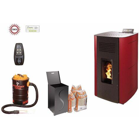 Poêle à granules HYDRO ELIO 13 KW Etanche - Bordeaux option télécommande, aspirateur 20 litres 1000W, Pellet'Box