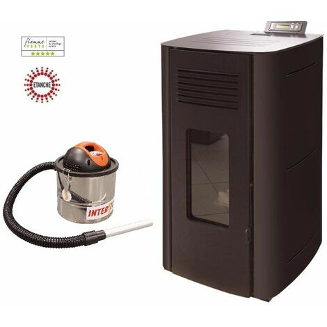 Poêle à granules HYDRO ELIO 13 KW Etanche - Noir option aspirateur 18 litres 1200W