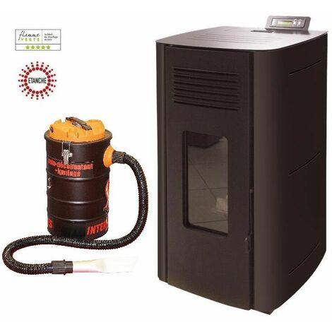 Poêle à granules HYDRO ELIO 13 KW Etanche - Noir option aspirateur 20 litres 1000W