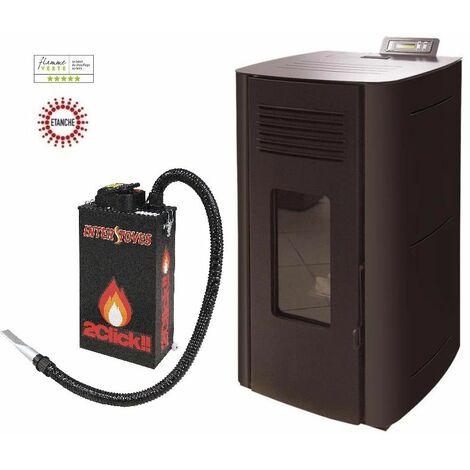 Poêle à granules HYDRO ELIO 13 KW Etanche - Noir option aspirateur à cendres ASPI SLIM 2CLICK 18 litres 1000W