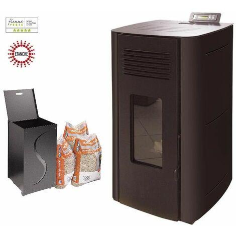 Poêle à granules HYDRO ELIO 13 KW Etanche - Noir option Pellet'Box réserve à granulés design de 45 kg