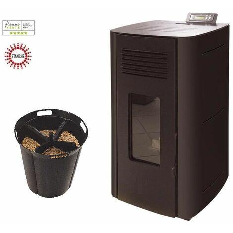 Poêle à granules HYDRO ELIO 13 KW Etanche - Noir option Pellet'Quadra réserve à granulés 15kg