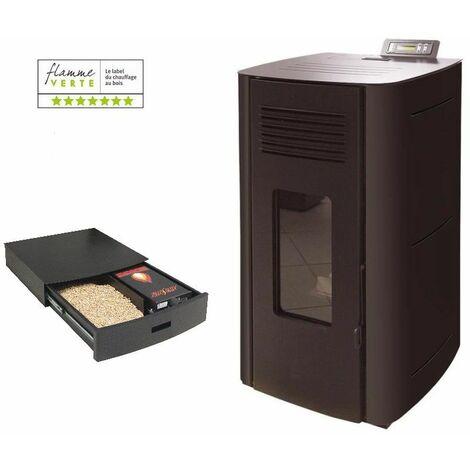 Poêle à granules HYDRO ELIO 13 KW Etanche - Noir option Podium+ range granules, bûches et aspirateur