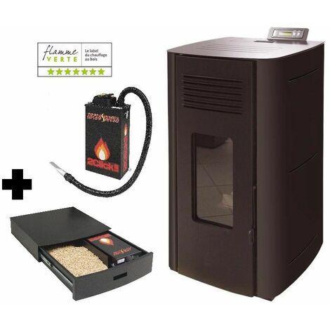 Poêle à granules HYDRO ELIO 13 KW Etanche - Noir option Podium+ range granules, bûches et aspirateur et Aspirateur à cendres ASPI SLIM 2CLICK 18 litres 1000W