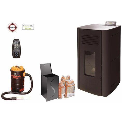 Poêle à granules HYDRO ELIO 13 KW Etanche - Noir option télécommande, aspirateur 20 litres 1000W, Pellet'Box