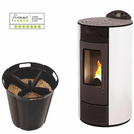 Poêle à granules IBIZA 9 KW - Blanc option Pellet'Quadra réserve à granulés 15kg