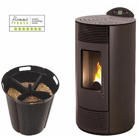 Poêle à granules IBIZA 9 KW - Noir option Pellet'Quadra réserve à granulés 15kg