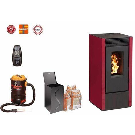 Poêle à granules MARINA 14 KW Etanche Canalisable - Bordeaux option télécommande, aspirateur 20 litres 1000W, Pellet'Box