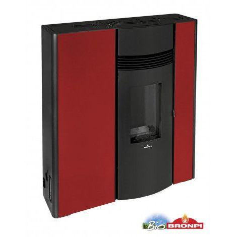Poêle à pellet canalisable slim Enderby 13 kW rouge - Rouge