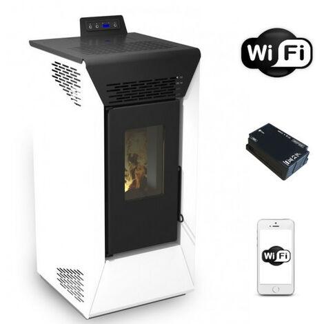 Poêle à pellet ventilé Courmayeur Blanc San Marco de 8,74 Kw avec wifi et App