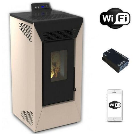 Poêle à pellet ventilé Courmayeur ivoire San Marco de 8,74 Kw avec wifi et App