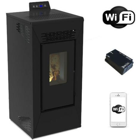 Poêle à pellet ventilé Courmayeur noir San Marco de 8,74 Kw avec wifi et App