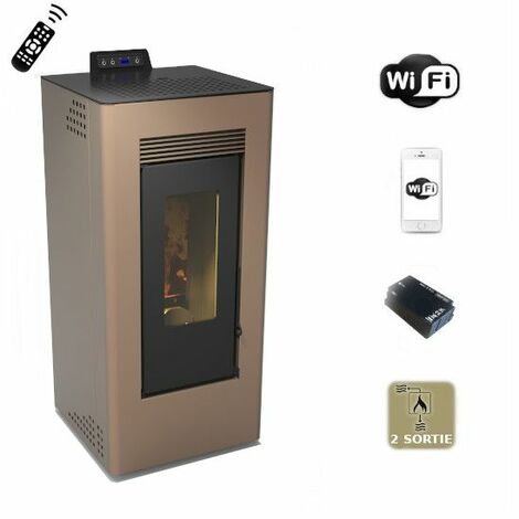 Poêle à pellets MontBlanc bronze, canalisable de 11,61 Kw avec WiFi