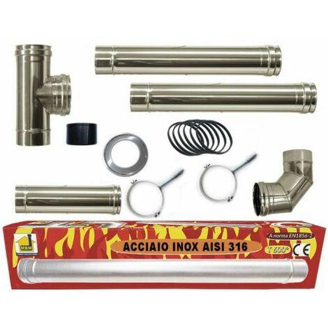 poêle à pellets tubes Kit 80 mm. en tube d'acier INOX 316 résistant CE 600 ° Fait en Italie.