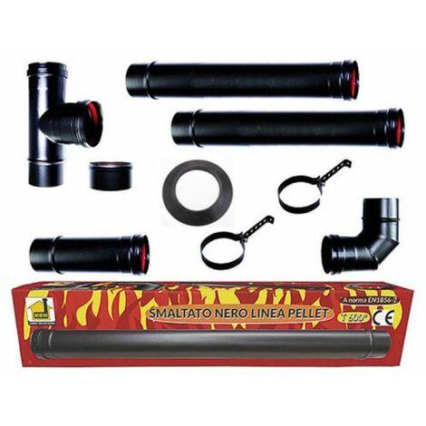 poêle à pellets tubes Kit 80 mm. en tube d'acier laqué noir résistant CE 600 ° Fait dans la cheminée en porcelaine Italie.