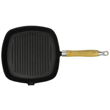 Poêle de grill Fonte avec poignée en bois 20 x 20 cm
