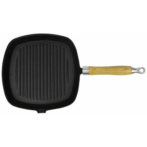 Poêle de grill Fonte avec poignée en bois 20 x 20 cm9476-A