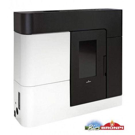 Poêle HYDRO à pellets AREGUA slim 18 kW noir et blanc