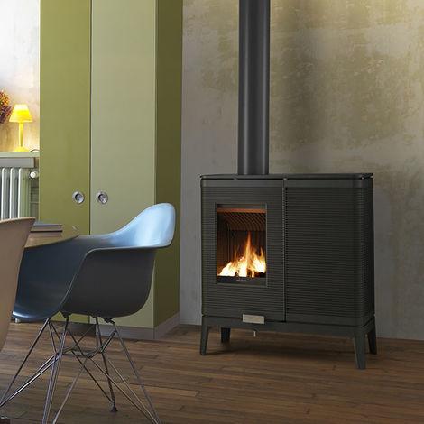 poele mixte buches et granul s akimix anthracite 6190 44. Black Bedroom Furniture Sets. Home Design Ideas