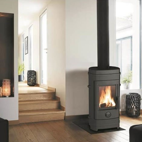 Poeles a bois en fonte remilly anthracite 7kW