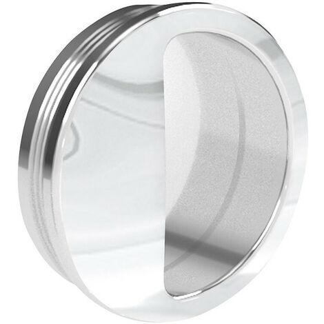 Poignée cuvette ronde diamètre 55 mm - plastique argenté - Argent