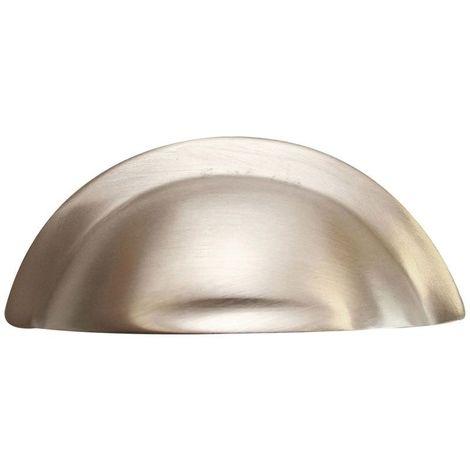 Poignée de meuble coquille épaisse en laiton nickel mat - Hauteur : 40 mm - Entraxe : 64 mm - : - Décor : Nickelé mat - Longueur : 96 mm - Profondeur : 18 mm - Matériau : Laiton - DUBOIS - Longueur : 96 mm
