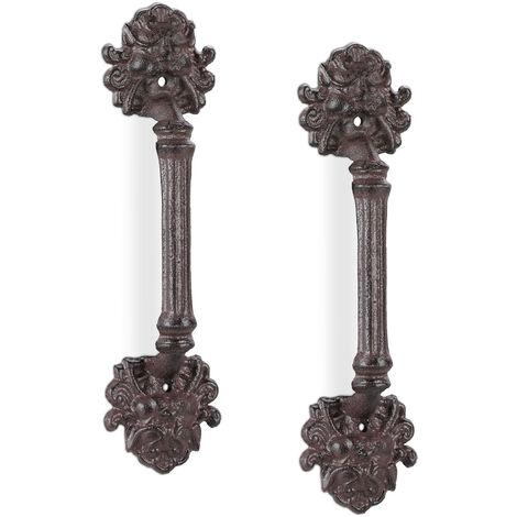Poignée de meuble vintage, lot de 2, pour portes, armoires & tiroirs, fonte de fer, ornement lion, brun